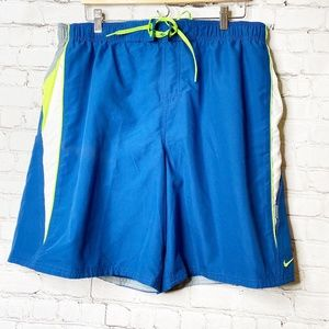 Nike | NWOT Blue and Neon Green Swim Trunks